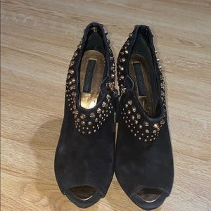 BCBG MAXAZRIA gold studded leather boots 8.5